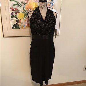 Evan Picone Black/Champagne Halter Dress